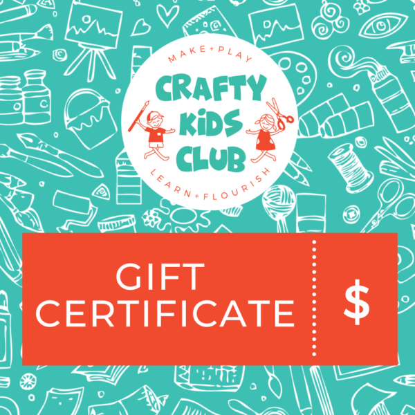 Crafty Kids Club Gift Certificate for Craft Kits delievered to your home in Australia