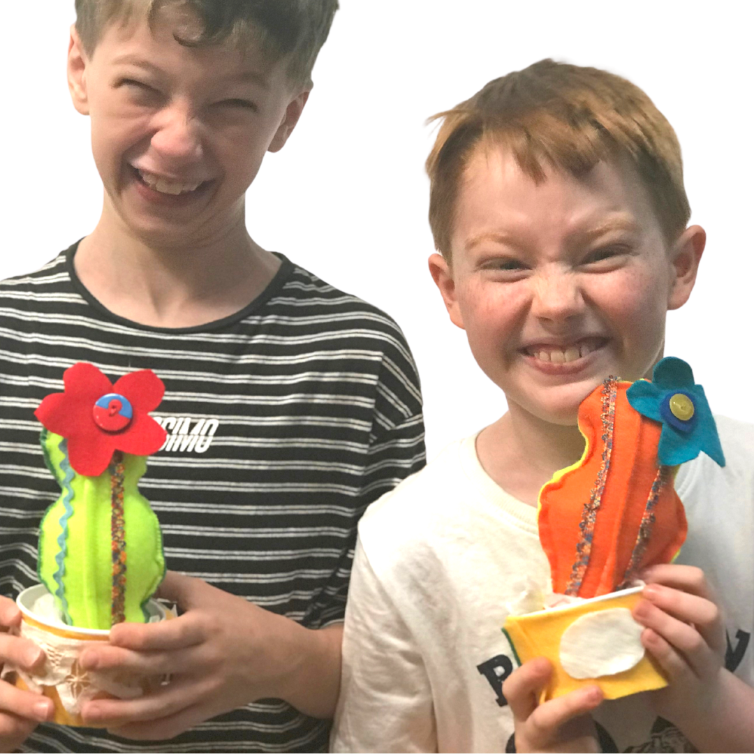 hand sew rainbow cactus craft kit delivered to your home by crafty kids club