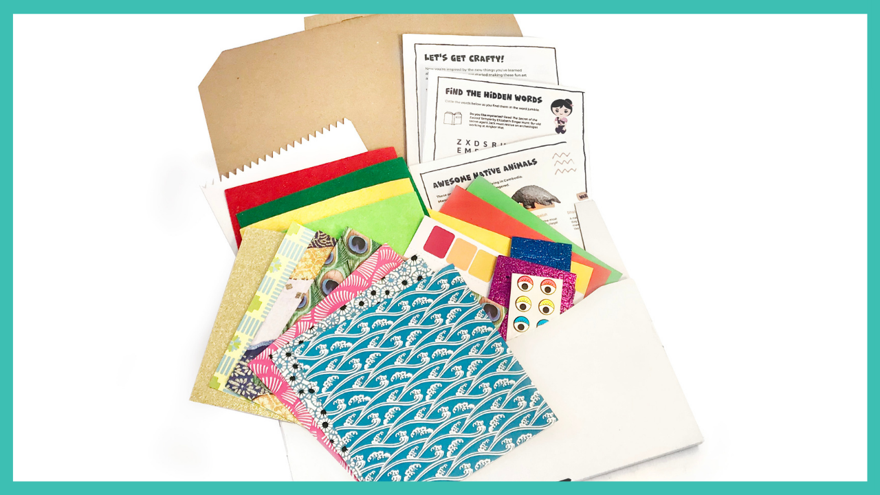 crafty kids club kids craft kits lets make our way around the world delivered to your door in australia flat pack flat supplies only GOLD subscription kit
